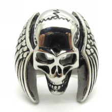 Free Shipping Europe Style 316L Stainless Steel  Eagle Wing Cool Skull Silver Ring Guarantee 100%