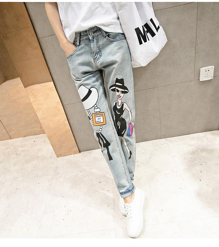 2017 New Fashion Cartoon Personality Print Jeans Loose Hole Collapse Pants Feet Trousers Womans Casual long pant TC008Одежда и ак�е��уары<br><br><br>Aliexpress