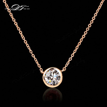 Double Fair Simple Style Cubic Zirconia Necklaces &Pendants Rose Gold Color Fashion Jewelry For Women Chain Accessiories DFN454(China)