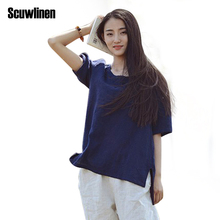 SCUWLINEN Women Tops 2017 Summer Basic Solid O-neck Half Sleeve Asymmetric Cotton T shirts Vintage Casual Summer Style Tops D50
