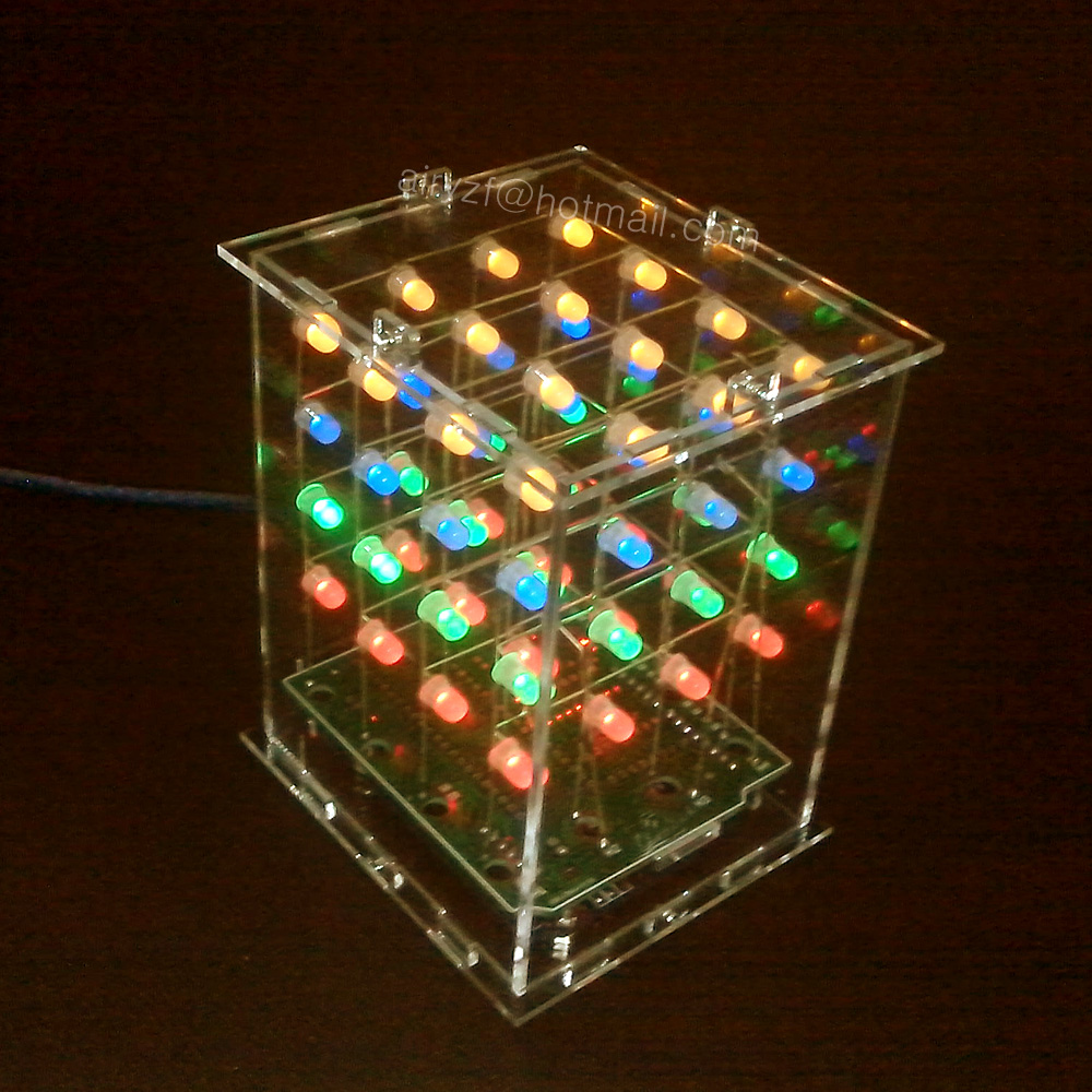 New 3D4X4X4 LED Light display Electronic DIY 3D cubeeds Kit + Acrylic shell  3D 4 4*4*4 for Audrio<br><br>Aliexpress