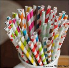 Free shipping 25pcs*40packs 193 mixed colorful Drinking Paper Straws kids birthday event frozen Party wedding straw supplies