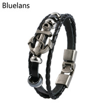 Vintage Anchor Steel Studded Surfer Faux Leather Cuff Charm pulseira masculina Bracelets for Men Jewelry Christmas Gift Bluelans(China)