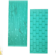 Hot Sale 2pcs Cake Fondant Wall Brick Wood Grain Design Mold Embosser Mould Baking Cake Decorating Tool Kitchenware