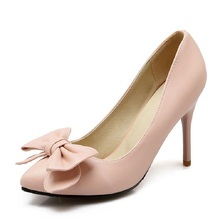 2016 Autumn Single Shoes Female New Women Pumps Sweet Bowknot Thin Pink High Heel Shoes Pointed Stiletto Elegant Wedding Shoes