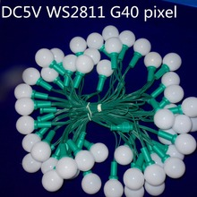 DC5V 50nodes addressable RGB G40 WS2811 LED Christmas pixel string light;6inches(15cm) wire spacing;all GREEN wire;IP68(China)
