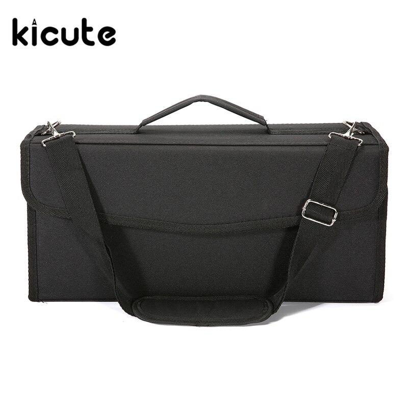 Kicute 1pcs Large Capacity Green/Purple/Black Marker Pen Bag Pencils Painting Bags for 120pcs Pencil Pens Office School Supplies<br>