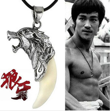 Korean Movie Bruce Lee Men Style Titanium Steel Classic Wolf Tooth Lovers Leather Chain Necklace N2656