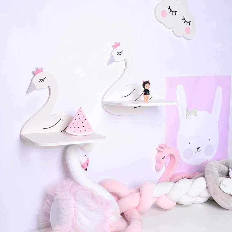 Nordic Children's Shelf Wall Hanging Rack Crafts Display Racks Kids Girl Room Crown Swan Shaped Decorative Storage Holder Hanger