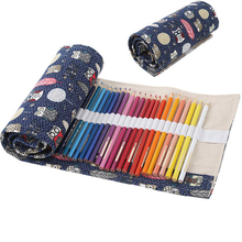 Holes Owls & Leaves Canvas Roll Up Kawaii Pencil Case Drawing Pen Holder Sketching Bag Girls School Supply Stationery 36/48/72(China)