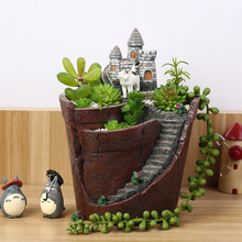 Creative Castle House Shaped Resin Garden Pot New Novelty Bonsai Plant Flower Pot For Office Desk Decorations