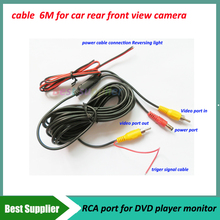 6M Car cables for car rear view front view camera RCA port video out with power port(China)