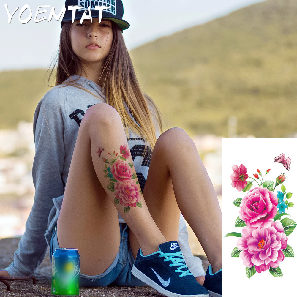 25 style flower arm shoulder tattoo stickers flash henna tattoo fake waterproof temporary tattoos sticker women 3