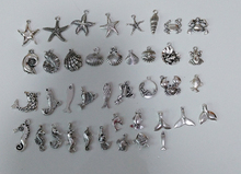 80pcs/lot mixed Models Marine animal Charm Tibetan Silver Plated Sea Star/ Seahorse/Shell/Mermaid Pendant For DIY Jewelry Making
