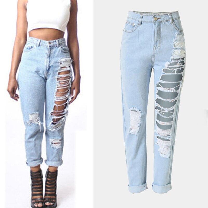 Hot Sale Women Loose Denim Jeans Hole Ripped Cotton Micro Elastic Straight Pants Ankle Length Pants Female Denim Jeans TrousersÎäåæäà è àêñåññóàðû<br><br>