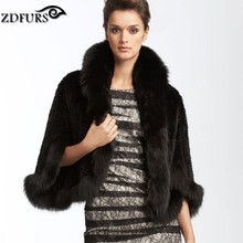 ZDFURS *New Genuine Knit Mink Fur Shawl Poncho With Fox Trimming Real mink fur jacket Fashion Women ZDKM-166001(China)