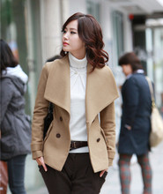 New 2017 woolen coat autumn and winter short overcoat fashion large lapel camel casual sheep double breasted wool coat