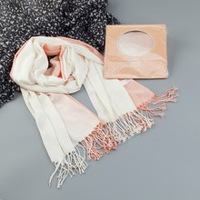 Promotion Brand Scarf fashion winter warm tassel Scarves for Women Brand Wraps 100% cotton scarf packing with brand box