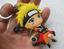 30 pcs/lot Hot anime Naruto keychain figure Uzumaki Naruto pvc keyring 7cm sided for bag pendants free shipping