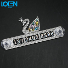LOEN Decoration Auto Car Sticker Car Styling Accessories Interior Christmas Silver High Definition Customer Swan Parking Card(China)