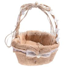 Hessian Burlap Little Love Flower Girl Basket Bridesmaid Accessory Wedding Ceremony Gift Favor 23cm