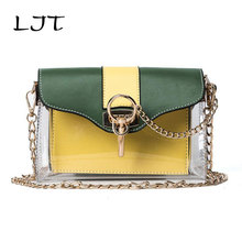 LJT  2017 Summer Jelly Candy Clear Transparent Handbag Tote Women's Waterproof Crossbody Messenger Bags Lady's Beach Bag On Sale