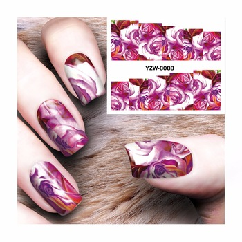 ZKO New Fashion Lovely Sweet Water Transfer  Nail Art Sticker Full Wraps Nails Decal DIY 8088