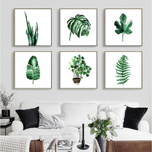 Water Color Painting Oil Canvas Paint Wall Decoration Painting by Numbers Green Leaves Prints no Frame Home Adorning