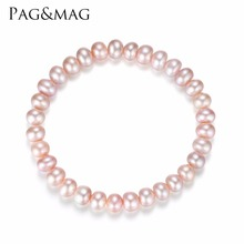 PAG&MAG Brand Freshwater Pearl Bracelet Women Elastic Rope Charm Bracelets Bangles Women Fashion Jewelry Pulseras Mujer Perlas(China)
