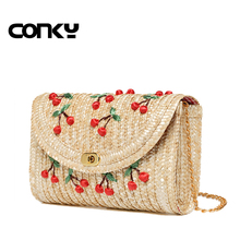 2016 Summer New Cherry Straw Messenger Bags Woven Day Clutch Flap Bag Beach Package Crossbody Chain Bags
