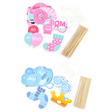 25pcs/set New Baby Shower Favors Photo Booth Props Its a Boy Girl Fun Photobooth 1st Birthday Party Decoration(China)