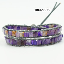 Purple Bracelet Natural Stones 2 Layers Leather Wrap Bracelet Vintage Hollywood Beaded Bohemia Bracelets Dropshipping JBN-9539(China)