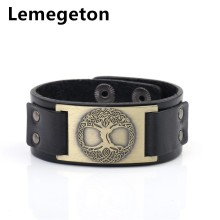 Lemegeton Wicca Tree of Life Sigil Vintage Charm Jewelry Adjustable Saver Clasp Studded Cuff Leather Men jewelry Bracelets(China)