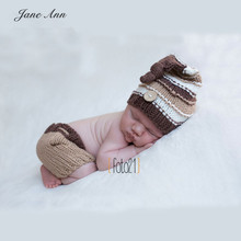 Jane Z Ann Fotografia newborn newborn photography props knitting patterns crochet outfit khaki button beanie+pants shower gift