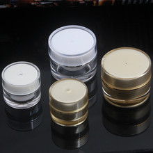 100pcs acrylic 5 gram 10g cosmetic jars with lid, Gold or white acrylic 5g 10g jar with cap , buy plastic mini jars for cream(China)