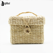 Fashion Summer Lady Women's Bags Box Trunk Bags Straw Weave Beach Bags Fresh Style Shopping Bag(China)