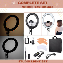 "Fotopal rl-18 18"" LED Photo/Studio/Phone/Video Annular lamp Ring Light Kit Photography Ring Lamp Light with Mirror Tripods"
