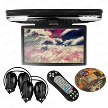 "15.6"" Black Color Flip Down Car DVD Car Roof DVD Roof Monitor DVD with IR/FM Transmitter & HDMI Port & 2 IR/FM Headphones"