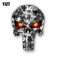 YJZT 9.3CM*12.7CM PUNISHER SKULL Camo Car Stickers Reflective Motorcycle Parts C1-7089(China)
