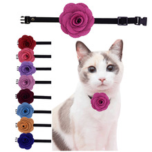 Remove Soft Velvet Cat Dog Collars Leads Pets Products Dog Collars Rose Design for Cat samll dog Holiday Grooming Products(China)