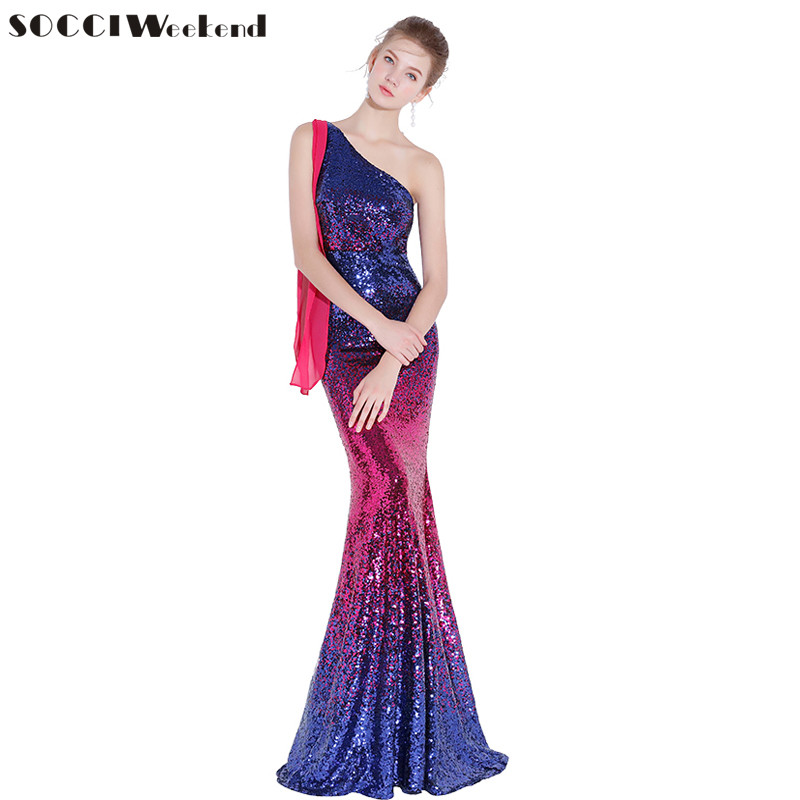 SOCCI Weekend Sexy Mermaid Evening Dress 2019 New Slim One Shoulder Gradient Sequins Red and Blue Prom Party Gown Formal Dresses