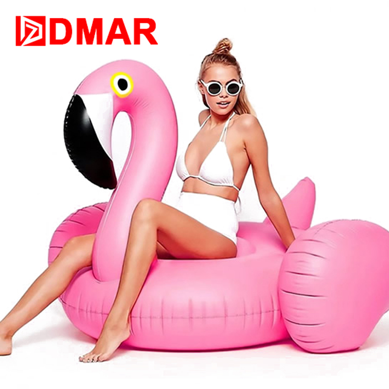 DMAR Inflatable Flamingo Giant Pool Float 150CM Swimming Ring Beach Sea Toys Inflatable Mattress Mat Circle Water Party Game(China)