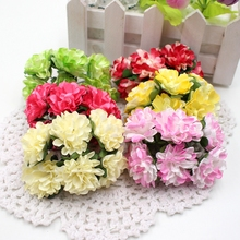 12pcs/lot 3cm Valentine Gift MIni Artificial Paper Rose Flower Bouquet Wedding Decor Scrapbooking DIY wreaths Handy flowers(China)