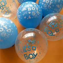 30pcs /lot Happy birthday decoration balloon clear Blue balloon Helium  Balloons It is boy Baby 1st Birthday latex balloons