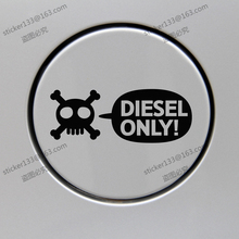 Diesel Only Skull Fuel Door Cover Cap Gas Tank Decal Sticker Black 12cm long