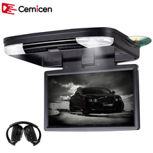 Cemicen 15.6 Inch Flip Down Car DVD Car Roof DVD Roof Monitor DVD with Built in IR/FM Transmitter HDMI Port USB SD MP5 Player(China)