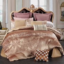 Brown Jacquard Duvet Cover Sets For Adults Queen King Bedding Set 100% Cotton Solid Color Bed Sheets Pillow Cases Duvet Covers(China)