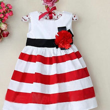 Chic Toddler Baby Kid Girl Wide Stripe Sleeveless Dress Flower High Waist Beach Dress