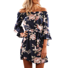 Buy Shoulder Summer Beach Dress 2018 Floral Print Women Sexy Casual Ladies XS 3XL Plus Large Size Mini Dresses Flare Sleeve Sale for $13.91 in AliExpress store