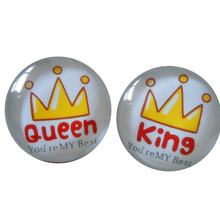 2pcs/set glass Cute king &queen Brooch Pin,crystal glass , hats and bags accessories Brooch badge
